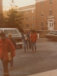 Bridgewater College, Students crossing a parking lot, late 1970s by Bridgewater College