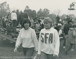 Bridgewater College, Photograph of Sherry Whitelaw and Barbara Roberts at a football game, circa 1985 by Bridgewater College