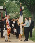 Bridgewater College, Photograph of students carrying flags at the front of the graduation line, 9 May 1993 by Bridgewater College