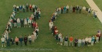Bridgewater College, Photograph of students and employees forming a human BC, 1990s by Bridgewater College
