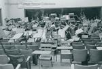 Bridgewater College, Photograph of desks stacked in classroom prank, undated by Bridgewater College