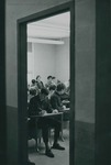 Bridgewater College, Photograph made through the door of a classroom, circa 1969 by Bridgewater College