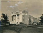 Bridgewater College, Cole Hall, yearbook proof with white clouds painted on, circa 1938 by Bridgewater College