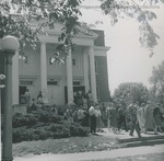 Bridgewater College, Unidentified individuals leaving Cole Hall, undated - before 1968 by Bridgewater College