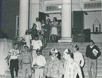 Bridgewater College, Freshmen wearing beanies leaving Cole Hall, 1968 by Bridgewater College