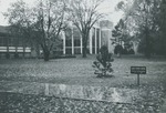 Bridgewater College, Wet autumn walkway in front of Cole Hall and Kline Campus Center, 1970 by Bridgewater College