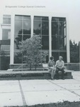 Bridgewater College, Students sitting on bench outside Cole Hall front, undated by Bridgewater College