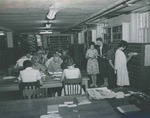 Bridgewater College, Students and librarian in BC library in Cole Hall basement, undated by Bridgewater College