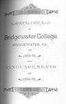 Bridgewater College Catalogue, Session 1893-94 by Bridgewater College