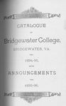Bridgewater College Catalogue, Session 1894-95 by Bridgewater College