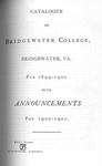 Bridgewater College Catalogue, Session 1899-1900 by Bridgewater College