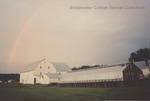 Bridgewater College, Rainbow over greenhouse and barn at College Farm, October 1992 by Bridgewater College