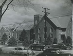 Constructing roofing on addition at Bridgewater Church of the Brethren, undated by Bridgewater College