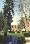 Bridgewater College, Unidentified student painting in front of Bridgewater Church of the Brethren, 18 April 1996 by Bridgewater College