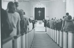 Bridgewater College, View down the aisle at College Street Church-Bridgewater Church of the Brethren, undated by Bridgewater College