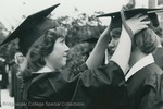 Bridgewater College, A student helping another student with their mortarboard at commencement, 1981 by Bridgewater College