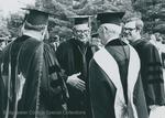 Bridgewater College, The platform party talking after commencement, 1982 by Bridgewater College