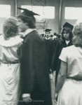 Bridgewater College, Students walking at commnencement, 29 May 1983 by Bridgewater College