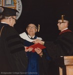 Bridgewater College, Warren F. Groff (center) receiving an honorary degree, 29 May 1983 by Bridgewater College