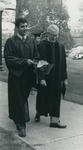 Bridgewater College, Kristin Whitehurst (photographer), Graduate Sean Conway and Professor Bernard S. Logan walking, May 1984 by Kristin Whitehurst