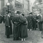 Bridgewater College, Photograph of graduates on the old campus lawn, May 1984 by Bridgewater College