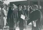 Bridgewater College, Karen Chestnut and other students after commencement, May 1985 by Bridgewater College