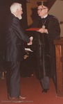 Bridgewater College, Baxter Mow accepting an honorary degree on behalf of Anna B Mow, May 1985 by Bridgewater College