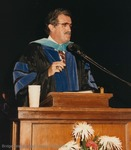 Bridgewater College, Ronald E Carrier speaking at commencement, May 1986 by Bridgewater College