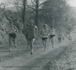 Bridgewater College, Jim Thornton leading the Cross Country team on a run, probably 1975 by Bridgewater College