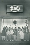 Bridgewater College, Daleville Hall First Floor residents staging a yearbook floor portrait outside the ABC store, 1988 by Bridgewater College