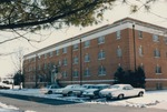 Bridgewater College, Cars in snow outside Dillon Hall, February 1986 by Bridgewater College