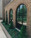 Bridgewater College, Exterior of Flory Hall connector windows with planter, undated by Bridgewater College