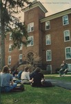 Bridgewater College, Dr. Edward Huffstetller and his class outside Flory Hall, 4 April 1996 by Bridgewater College