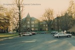 Bridgewater College, Mark Harding (photographer), view of Flory Hall from across library parking lot, November 1990 by Mark Harding