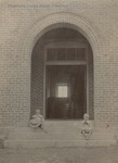 Bridgewater College, President W.B. Yount's sons Karl and Dee at Founders' Hall entrance, circa 1903 by Bridgewater College