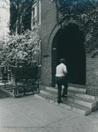 Bridgewater College, Student entering Founders' Hall, undated by Bridgewater College