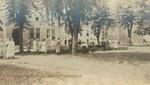Bridgewater College, Summer camp photo between Founders' Hall and Wardo Hall, 1923 by Bridgewater College