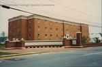 Bridgewater College, Geisert Hall behind new college entry gate, May 1991 by Bridgewater College