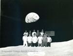 Bridgewater College, Heritage Hall basement residents on moon, yearbook floor portrait, 1986 by Bridgewater College