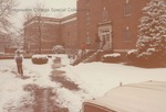 Bridgewater College, Students in snow outside Heritage Hall, January 1985 by Bridgewater College