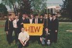 Bridgewater College, Heritage Hall Third Floor West students at commencement, circa 1991 by Bridgewater College