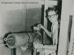 Bridgewater College, A student working with unidentified scientific equipment, undated by Bridgewater College