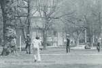Bridgewater College, Students play frisbee on the mall near College Street with the Kline Campus Center visible behind them, undated by Bridgewater College