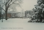 Bridgewater College, Kline Campus Center and Cole Hall in falling snow, undated by Bridgewater College