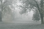 Bridgewater College, Cole Hall and the edge of Kline Campus Center across a misty campus mall, undated by Bridgewater College