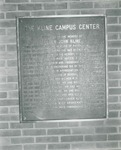 Bridgewater College, The Kline Campus Center dedication plaque honoring Elder John Kline and other Kline family members, undated by Bridgewater College
