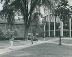 Bridgewater College, People walk near the Kline Campus Center and Cole Hall, undated by Bridgewater College