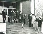 Bridgewater College, Dan Legge (photographer), students on steps of Alexander Mack Memorial Library, probably late 1960s by Dan Legge