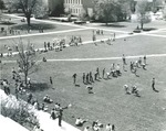 Bridgewater College, Event on campus mall with Alexander Mack Memorial Library in the background, 1973 by Bridgewater College