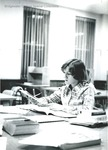 Bridgewater College, Student studying in the Alexander Mack Memorial Library, circa 1976 by Bridgewater College